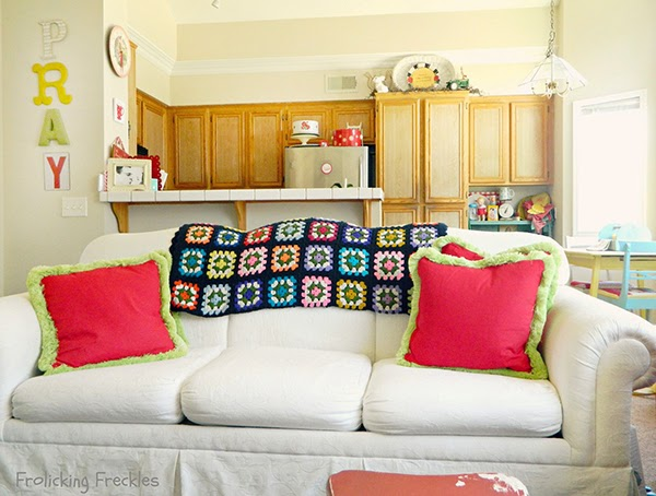 crochet blanket on a couch