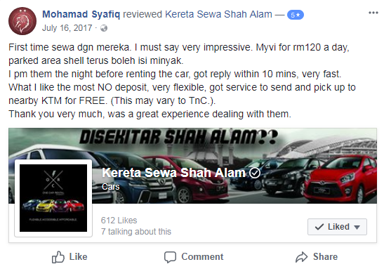 First time sewa dgn mereka. I must say very impressive. Myvi for rm120 a day, parked area shell terus boleh isi minyak.  I pm them the night before renting the car, got reply within 10 mins, very fast.  What I like the most NO deposit, very flexible, got service to send and pick up to nearby KTM for FREE. (This may vary to TnC.).  Thank you very much, was a great experience dealing with them.