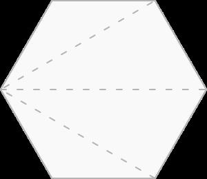 Hexágono decomposto em triângulos