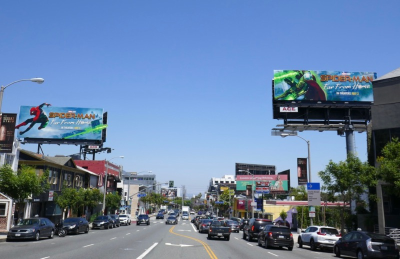 SpiderMan Far From Home billboards Sunset Strip