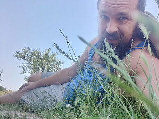 Taking a break from scything; I was hot and tired