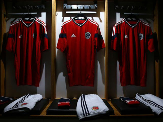 Colombia 2014 World Cup Away Kit released - the new Colombia 2014 World Cup  Away Shirt was unveiled today as the last Adidas 2014 World Cup Away Shirts. d444bdbb8