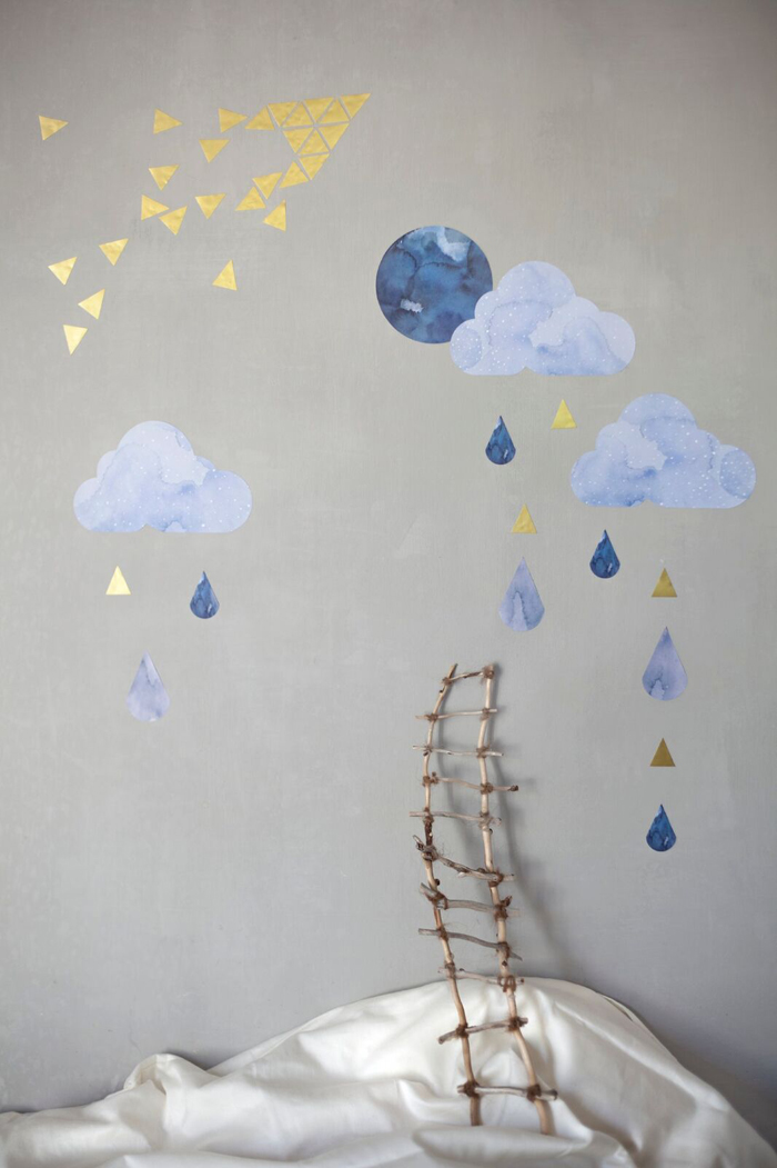 Clouds and Raindrops decoration for children's room - Fabelab & Chispum
