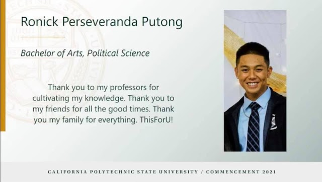 Ronick Putong graduates from Cal Poly