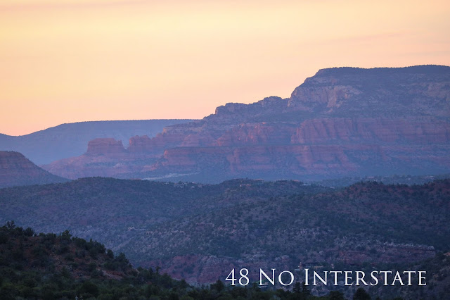 48 No Interstate back roads cross country coast-to-coast road trip sunset Bell Rock Sedona Arizona