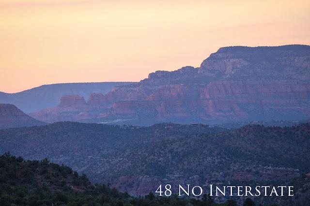 48 No Interstate back roads cross country coast-to-coast road trip sunset Bell Rock Sedona Arizona