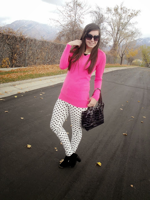 polka dot, polka dot pants, windsorstyle, windsor store, windsor, pink sweater, ankle booties, ankle boots, booties, cute, bag, long hair, polka dot pants, dots,