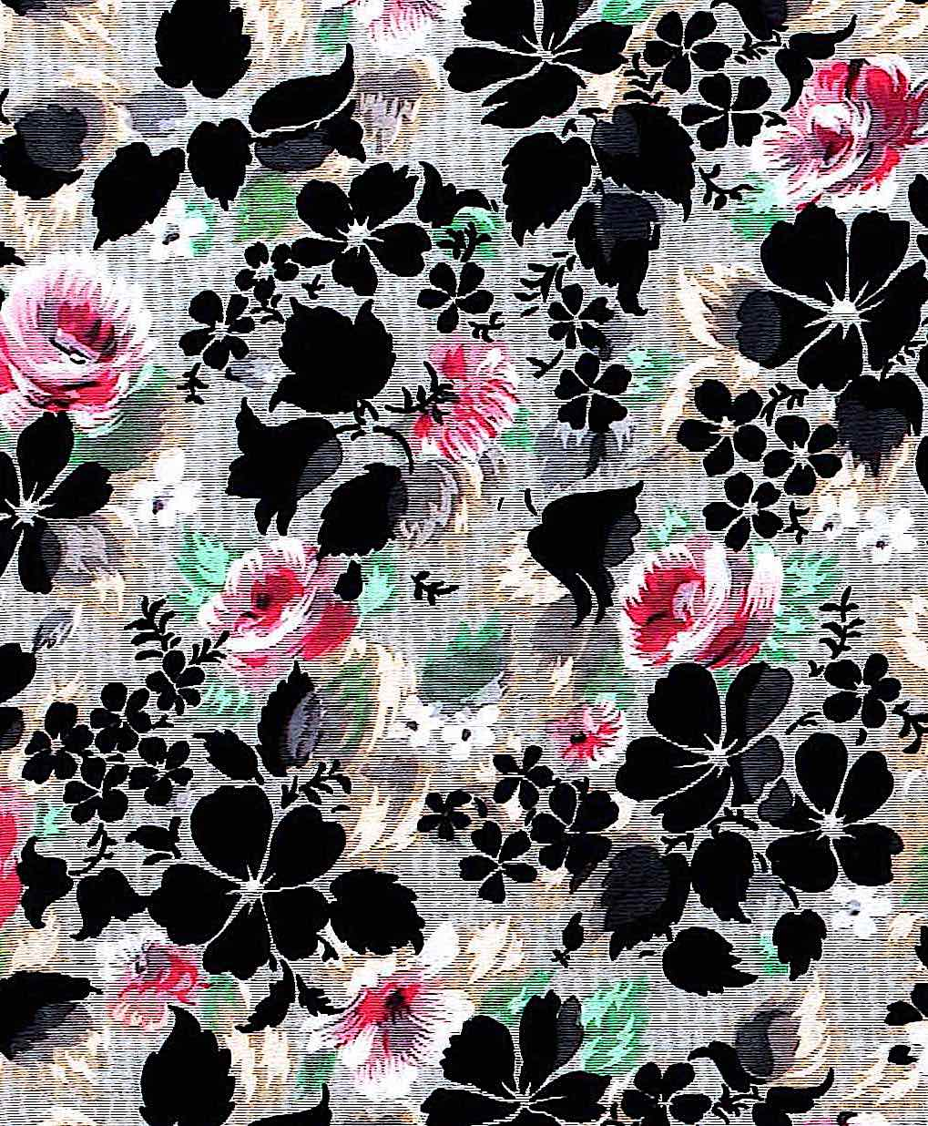 1895 French silk with black fowers