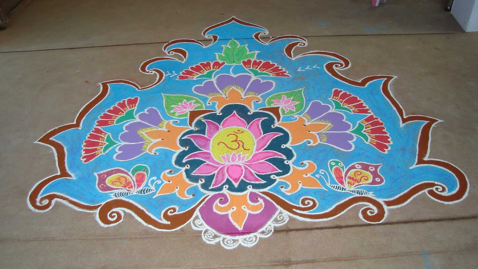 Easy Happy Holi Rangoli Colors
