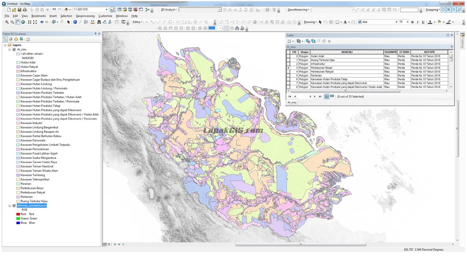 Data SHP Shapefile RTRW Provinsi Seluruh Indonesia