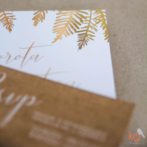 pozłacane, złote, błyszczące zaproszenia, gałązki, paproci, palm, eko papier, ekologiczne, biały druk, oryginale, biało-złote, gold foil, metaliczne, botaniczne zaproszenia, minimalistyczne, zaproszenia slubne, nietypowe, oryginalne, recznie robione, projekt indywidualny, glamour, błyszczące, mieniące się zaproszenia,