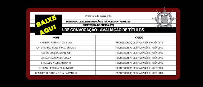 LISTA DE CONVOCAÇÃO - AVALIAÇÃO DE TÍTULOS - CUPIRA-PE