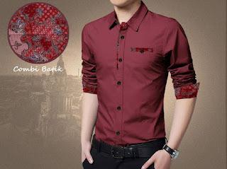 Kemeja Batik Pria Simple 2016 warna merah