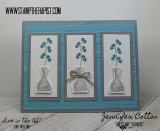 In this Balmy Blue and Smoky Slate card, I used Stampin' Up!'s Varied Vases, Vibrant Vases, and Vases Builder Punch.  I also used the Brick & Mortar folder.  The two stamp sets are retiring June 3!  Get them while you can!  There's a video on the blog post!  #StampTherapist #StampinUp