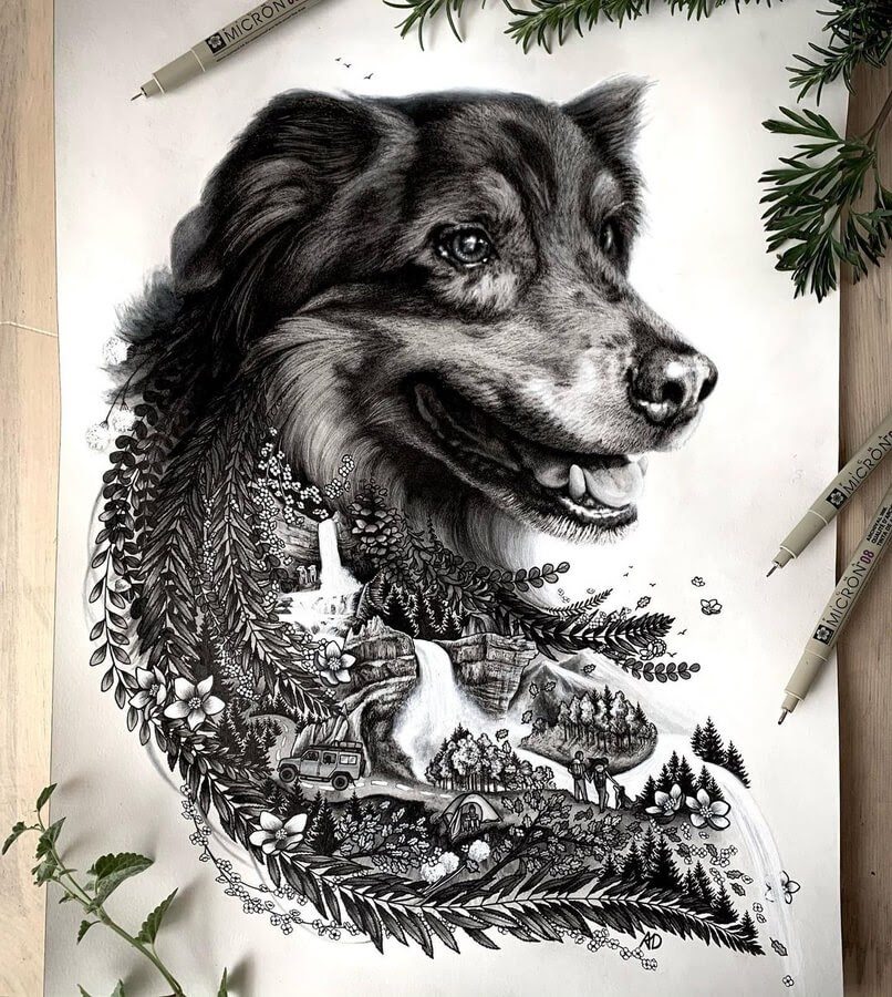 10-Realistic-dog-and-waterfall-Alyse-Dietel-www-designstack-co
