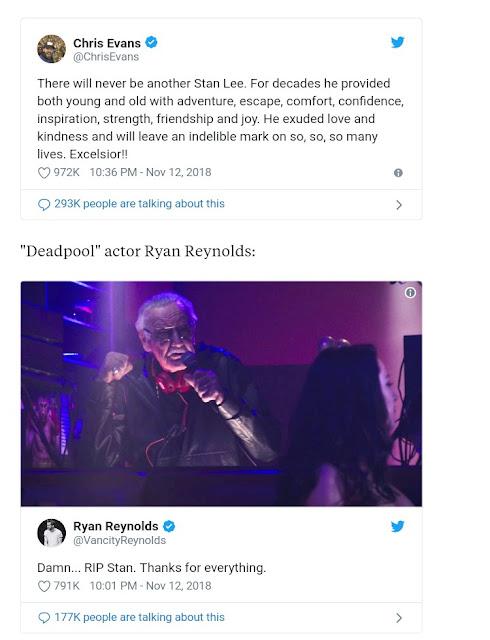 Stan Lee's death - Celebrities react to Marvel creator