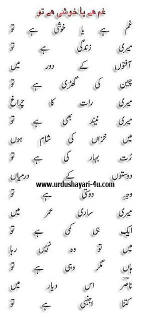 Gham hai ya khushi hai tu   Nasir kazeemi