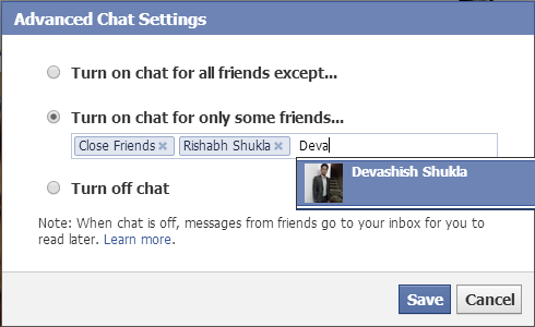 turn Facebook chat online or offline