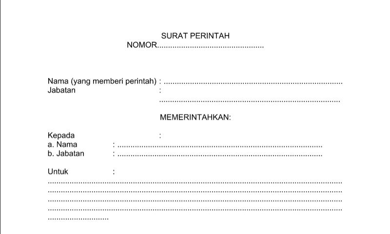 Contoh Format Bentuk Surat Perintah untuk Perlengkapan Administrasi TU (Tata Usaha) Sekolah