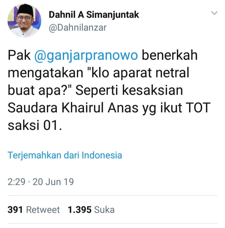 Pertanyaan Berani Dahnil ke Gubernur Ganjar Pranowo