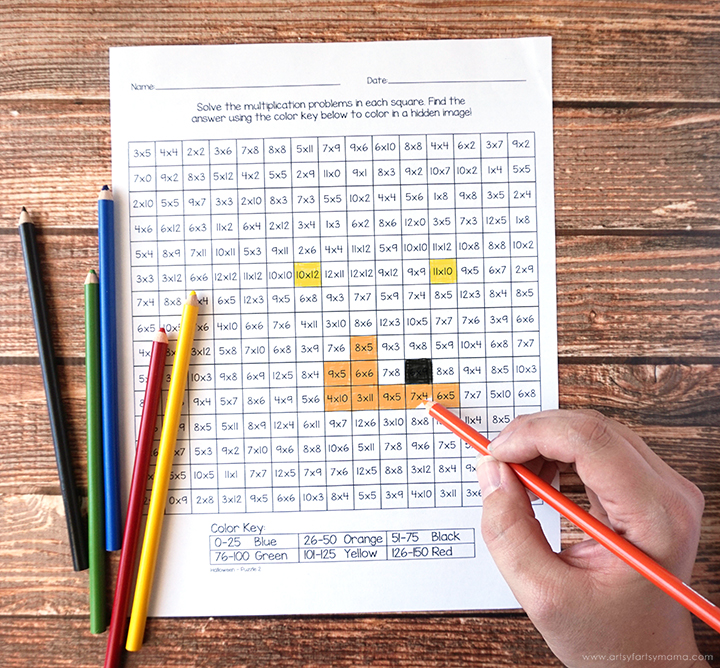 Coloring Free Printable Halloween Mystery Multiplication Worksheets