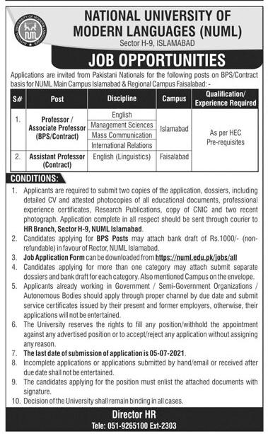 https://numl.edu.pk Jobs 2021 - National University of Modern Languages (NUML) Jobs 2021 in Pakistan