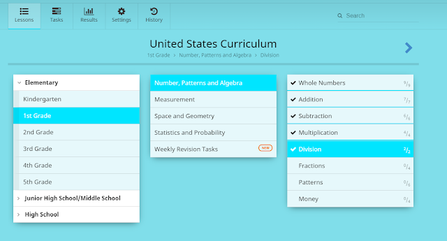 United States Curriculum for 1st grade; course schedule under Number, Patterns, and Algebra