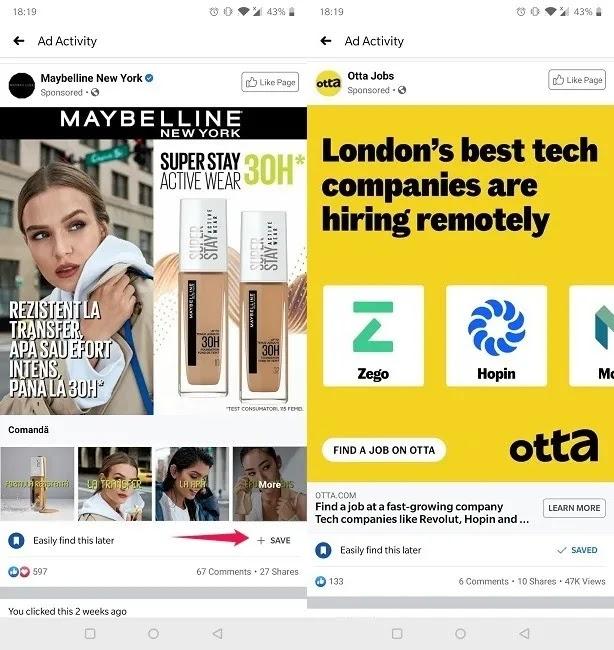 نشاط إعلان Facebook Mobile عرض الإعلانات الأخيرة
