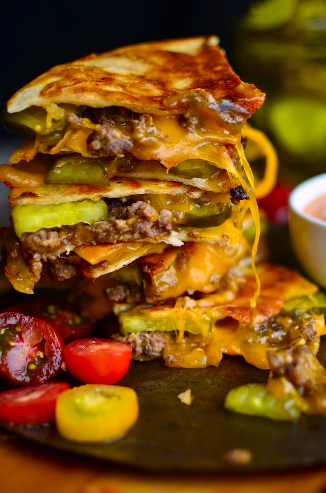 Yammie S Noshery Cheeseburger Quesadillas
