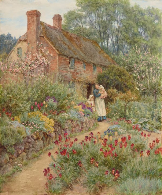 "Artwork, XIX century art, watercolours, ""Hillside cottage"" by Helen Allingham, 1889."