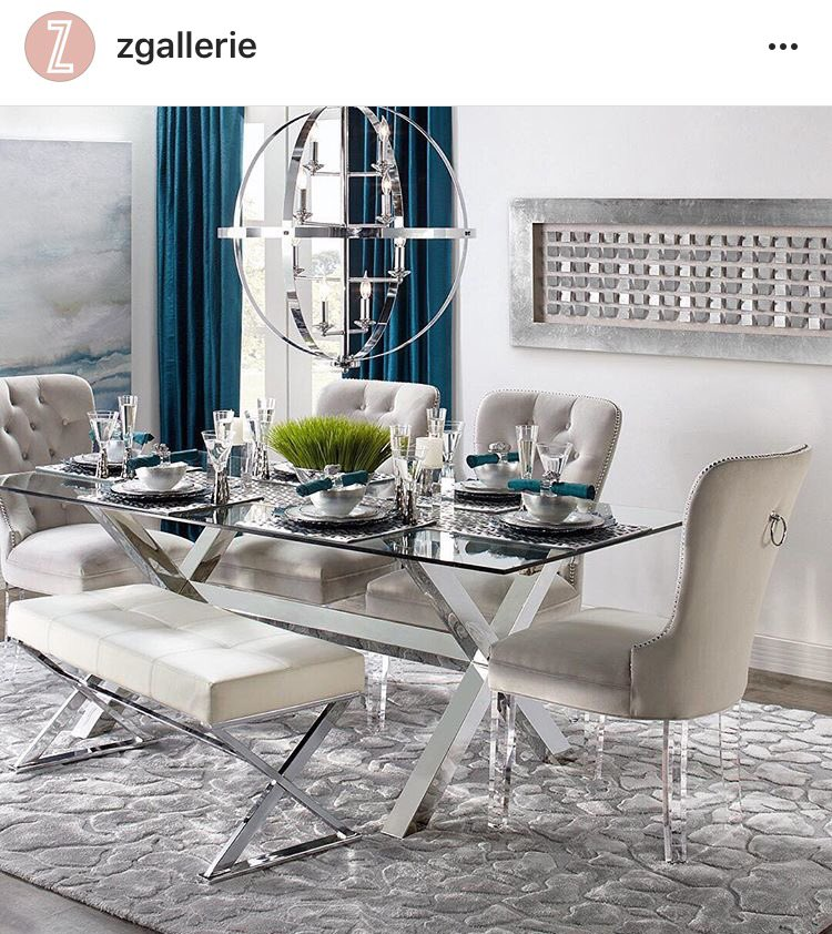 Z gallery dinning table, chrome, beautiful, home decor