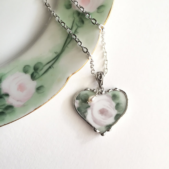 Lovely porcelain rose necklace from Laura Beth Love