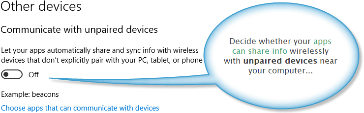 Settings for restricting unpaired devices
