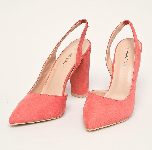 Pantofi cu toc roz piele intoarsa cu decupaje la spate ieftini