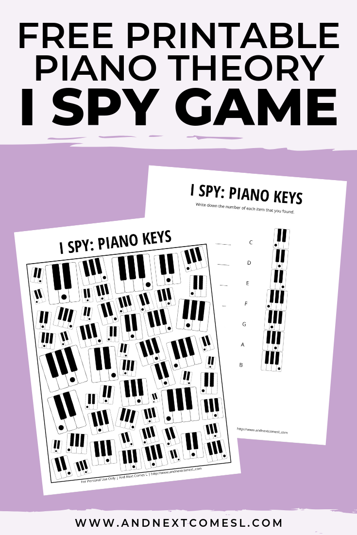 Free I spy game printable for kids: piano theory themed