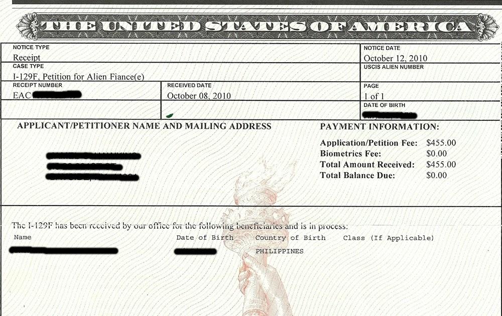 My K1 Fiancee Visa Experience: NOA-1 Notice of Action Form I-797C