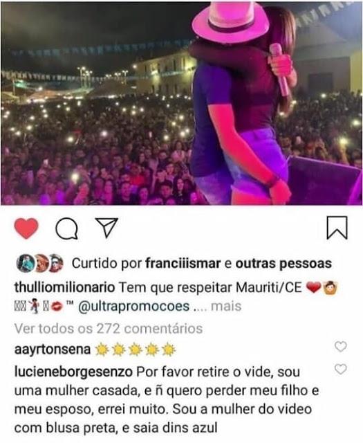 Após beijar cantor em show, mulher casada pede para que vídeo seja retirado do Instagram