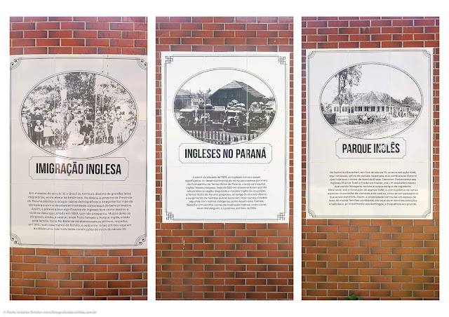 Memorial Inglês no Parque Gomm - painéis de azulejos com informações