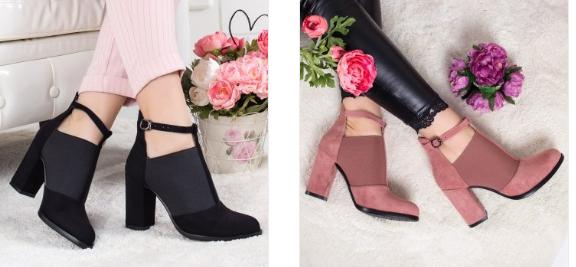 Pantofi Resami negri , roz din piele eco intoarsa cu toc gros de zi