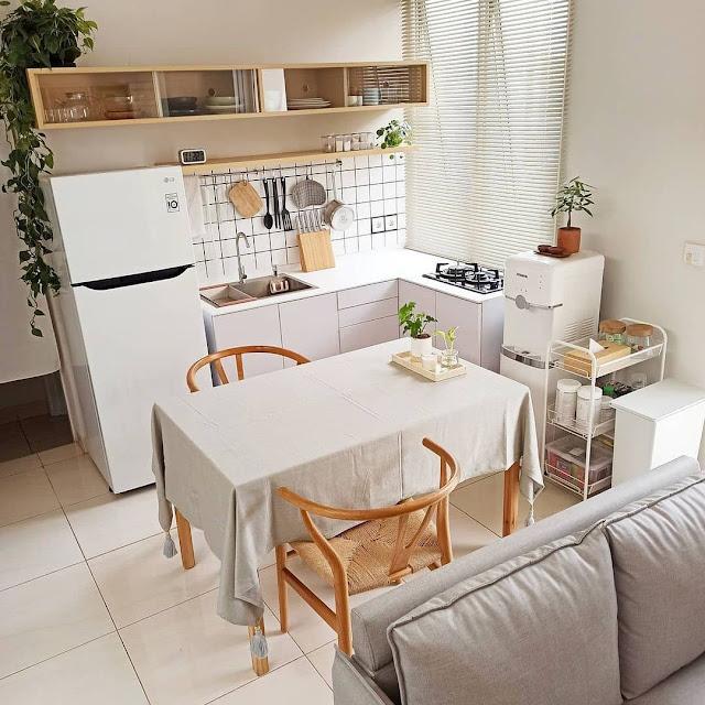 Desain Dapur dan Ruang Makan Sempit Sederhana Terbaru