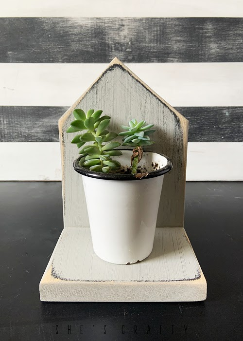 scrap wood house - plant holder