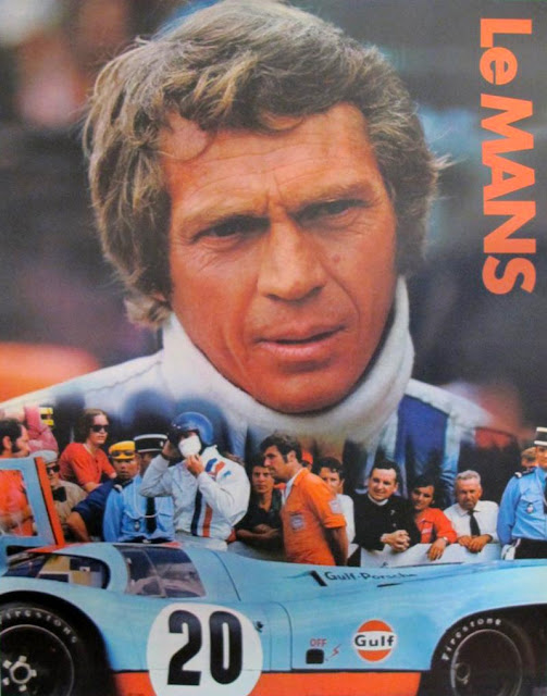 Steve McQueen and Haig Alltounian in the poster of the Le Mans movie, 1971