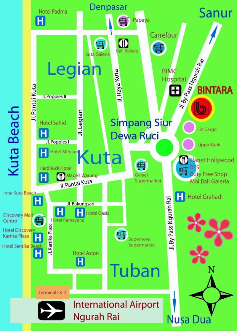 Kuta Beach Hotel Map