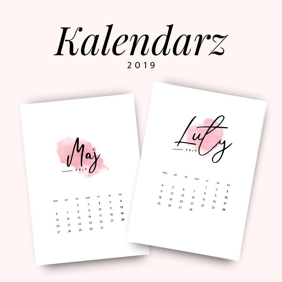 Kalendarz 2019 do druku, do pobrania za darmo - różowy