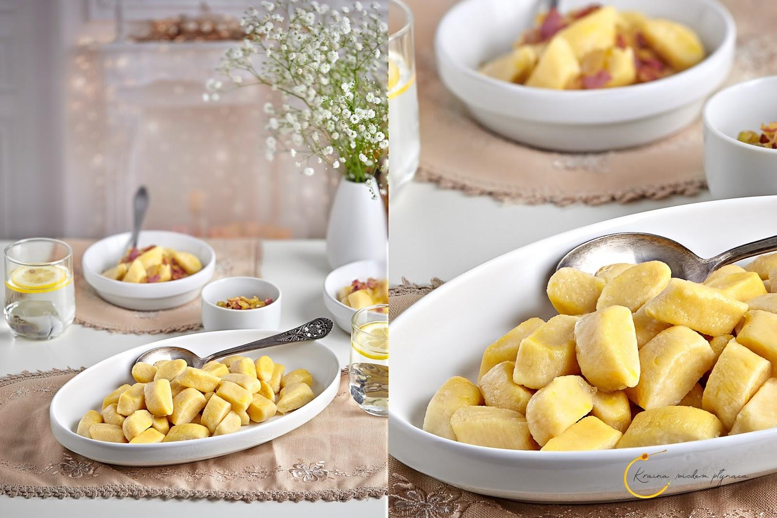 kopytka leniwe, kopytka z ziemniakami i twarogiem, kopytka twarogowe, kopytka ziemniaczane, kluski leniwe, domowe kluseczki, kraina miodem płynąca, fotografia kulinarna