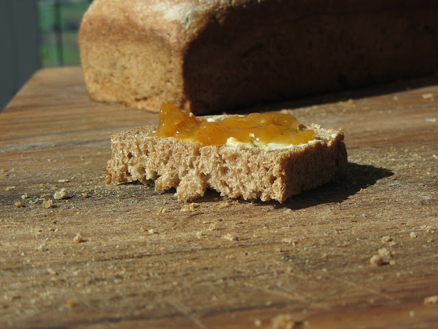 Homemade Whole Wheat Bread with Butter and Jam