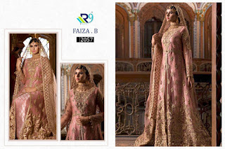 R9 Design Faiza B Georgette Pakistani Suits Wholesaler