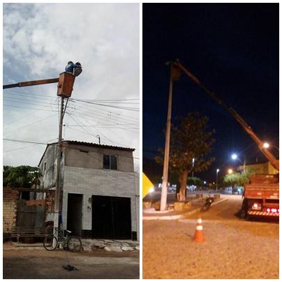 Prefeitura fez nesta quarta, 20, manutenção da iluminação pública. Amenizando parte da escuridão na sede do município.