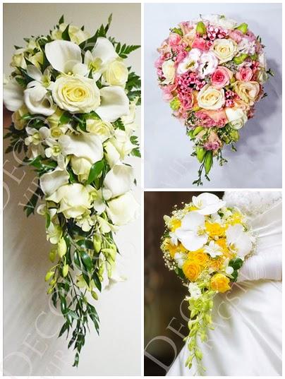 Csepp alakú menyasszonyi csokor típusok