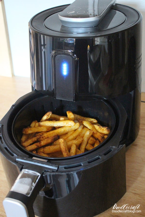 Stir the basket of fries mid way through the cooking process of the air fryer to make sure each piece is crispy.